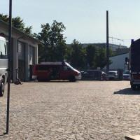 Einsatzfahrzeuge im Hof des THW Ortsverband Heilbronn